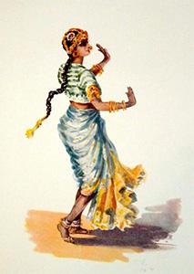 Chica Devadasi (acuarela 1914)